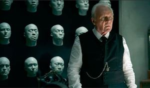 Dr. Robert Ford (Anthony Hopkins), next to 3D-printed faces of Westworld inhabitants.